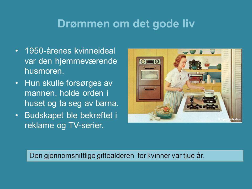Drømmen om det gode liv •1950-årenes kvinneideal var den hjemmeværende husmoren. •Hun skulle forsørges av mannen, holde orden i huset og ta seg av bar