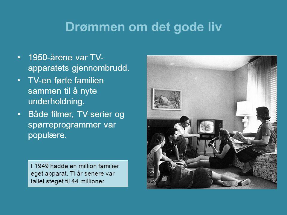 Drømmen om det gode liv •1950-årene var TV- apparatets gjennombrudd. •TV-en førte familien sammen til å nyte underholdning. •Både filmer, TV-serier og