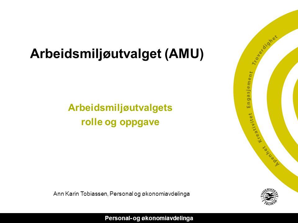 Personal- og økonomiavdelinga Arbeidsmiljøutvalget (AMU) Arbeidsmiljøutvalgets rolle og oppgave Ann Karin Tobiassen, Personal og økonomiavdelinga