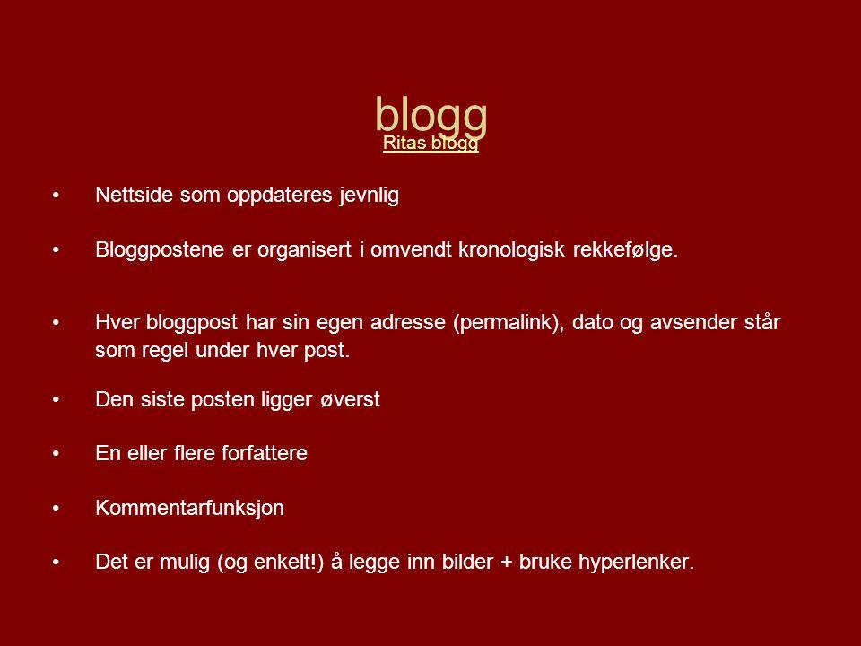 blogg Ritas blogg •Nettside som oppdateres jevnlig •Bloggpostene er organisert i omvendt kronologisk rekkefølge.