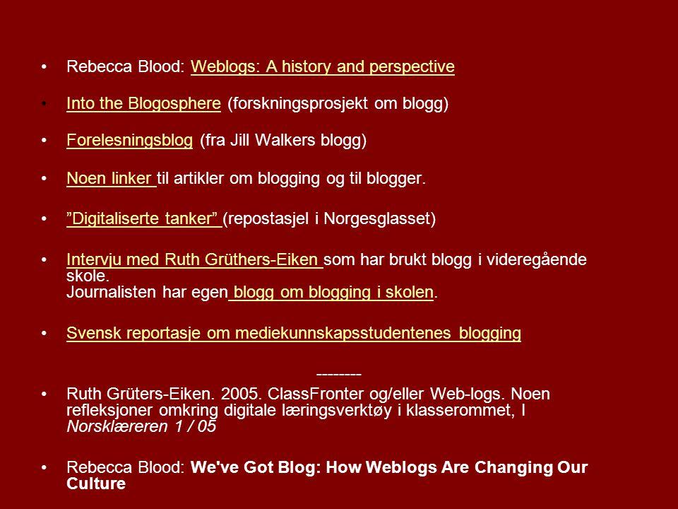 Lag din egen blog Liten veiledning