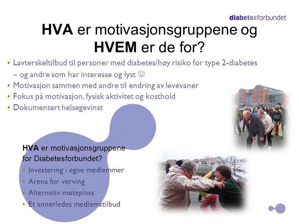 HVA er motivasjonsgruppene og HVEM er de for? •Lavterskeltilbud til personer med diabetes/høy risiko for type 2-diabetes – og andre som har interesse