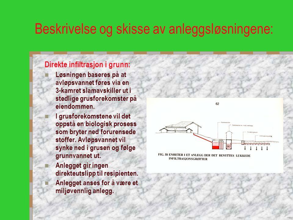 Beskrivelse og skisse av anleggsløsningene: Direkte infiltrasjon i grunn:  Løsningen baseres på at avløpsvannet føres via en 3-kamret slamavskiller u
