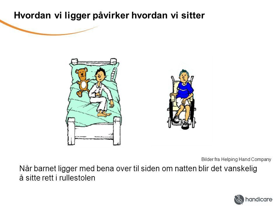 Hvordan vi ligger påvirker hvordan vi sitter Når barnet ligger med bena over til siden om natten blir det vanskelig å sitte rett i rullestolen Bilder