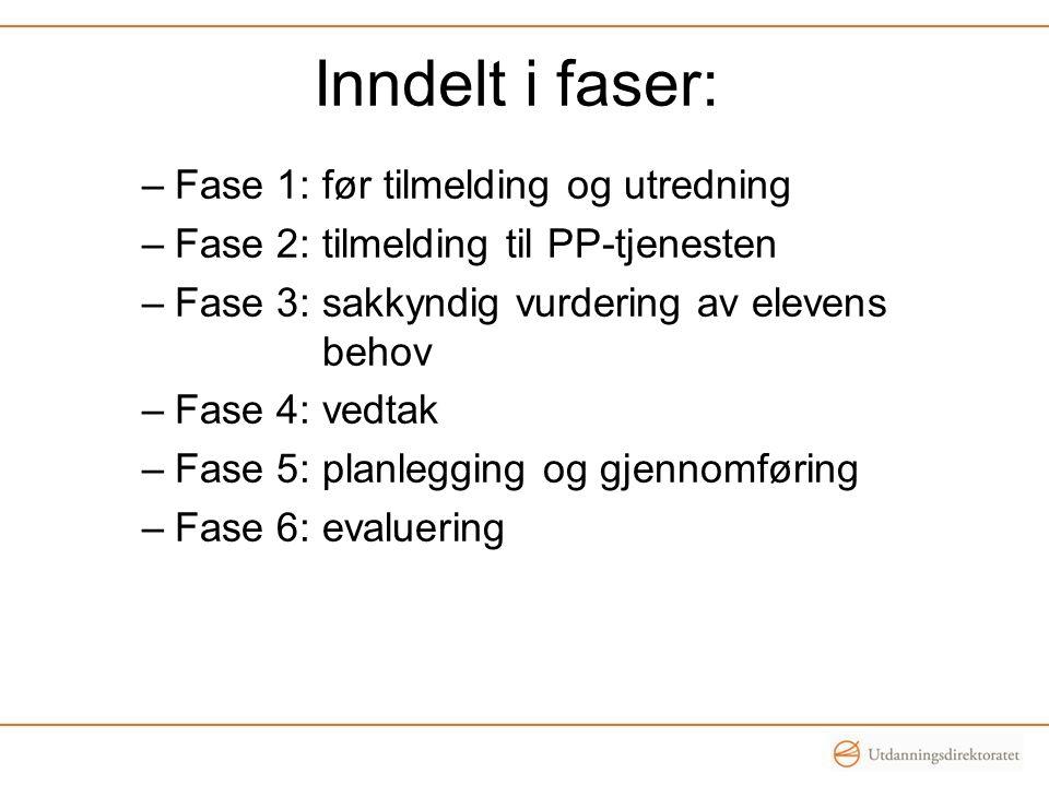 Inndelt i faser: –Fase 1: før tilmelding og utredning –Fase 2: tilmelding til PP-tjenesten –Fase 3: sakkyndig vurdering av elevens behov –Fase 4: vedt