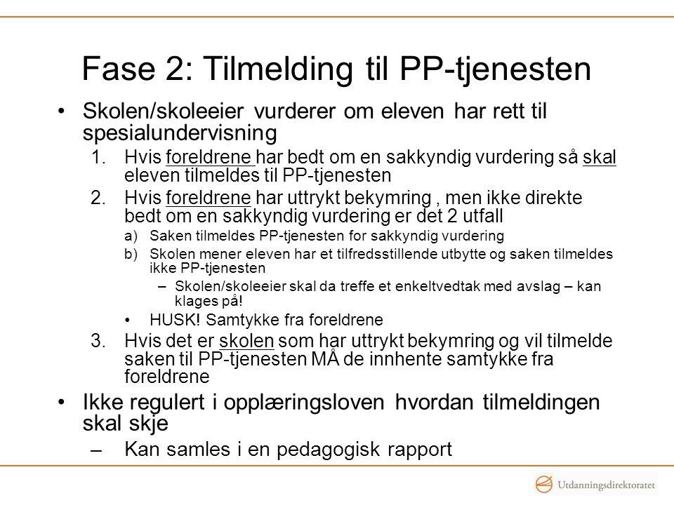 Fase 2: Tilmelding til PP-tjenesten •Skolen/skoleeier vurderer om eleven har rett til spesialundervisning 1.Hvis foreldrene har bedt om en sakkyndig v
