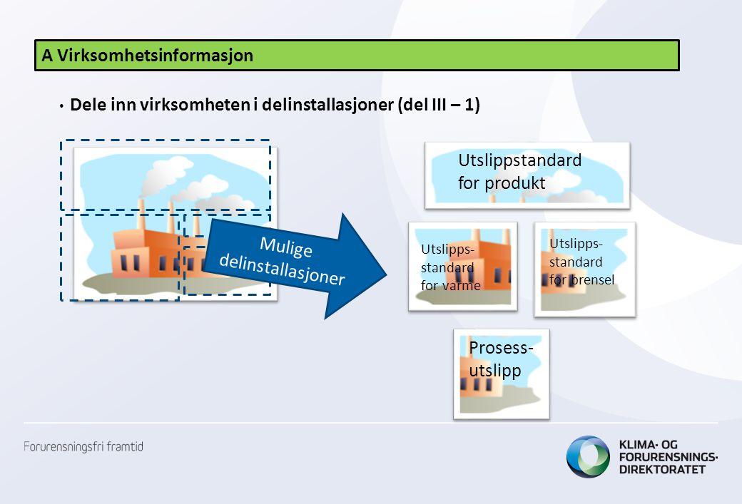 A Virksomhetsinformasjon • Dele inn virksomheten i delinstallasjoner (del III – 1) Utslippstandard for produkt Utslipps- standard for brensel Utslipps