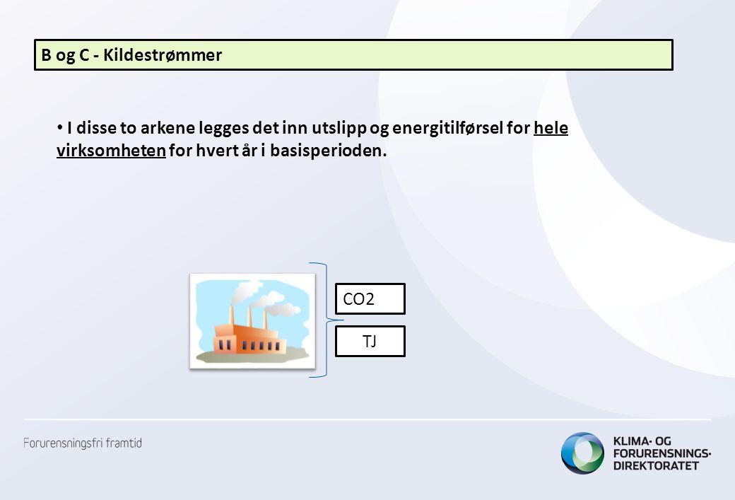 B og C - Kildestrømmer • I disse to arkene legges det inn utslipp og energitilførsel for hele virksomheten for hvert år i basisperioden. CO2 TJ