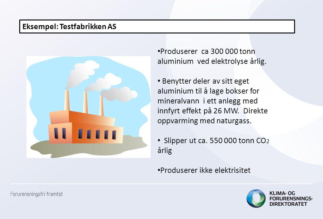 Eksempel: Testfabrikken AS • Produserer ca 300 000 tonn aluminium ved elektrolyse årlig. • Benytter deler av sitt eget aluminium til å lage bokser for