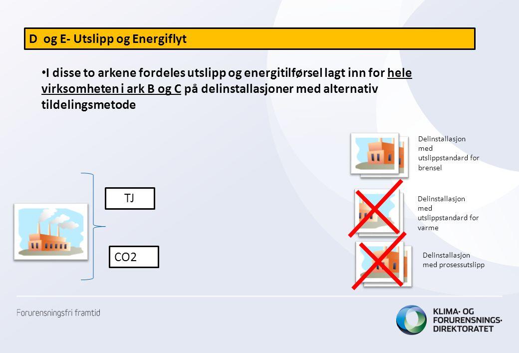 D og E- Utslipp og Energiflyt • I disse to arkene fordeles utslipp og energitilførsel lagt inn for hele virksomheten i ark B og C på delinstallasjoner