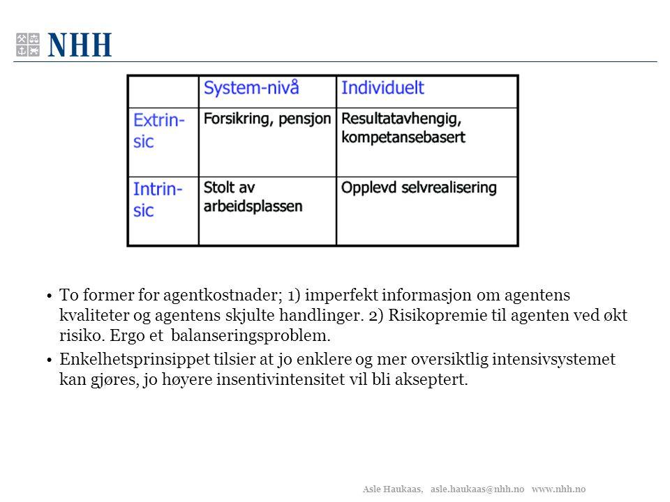 Asle Haukaas, asle.haukaas@nhh.no www.nhh.no •To former for agentkostnader; 1) imperfekt informasjon om agentens kvaliteter og agentens skjulte handli
