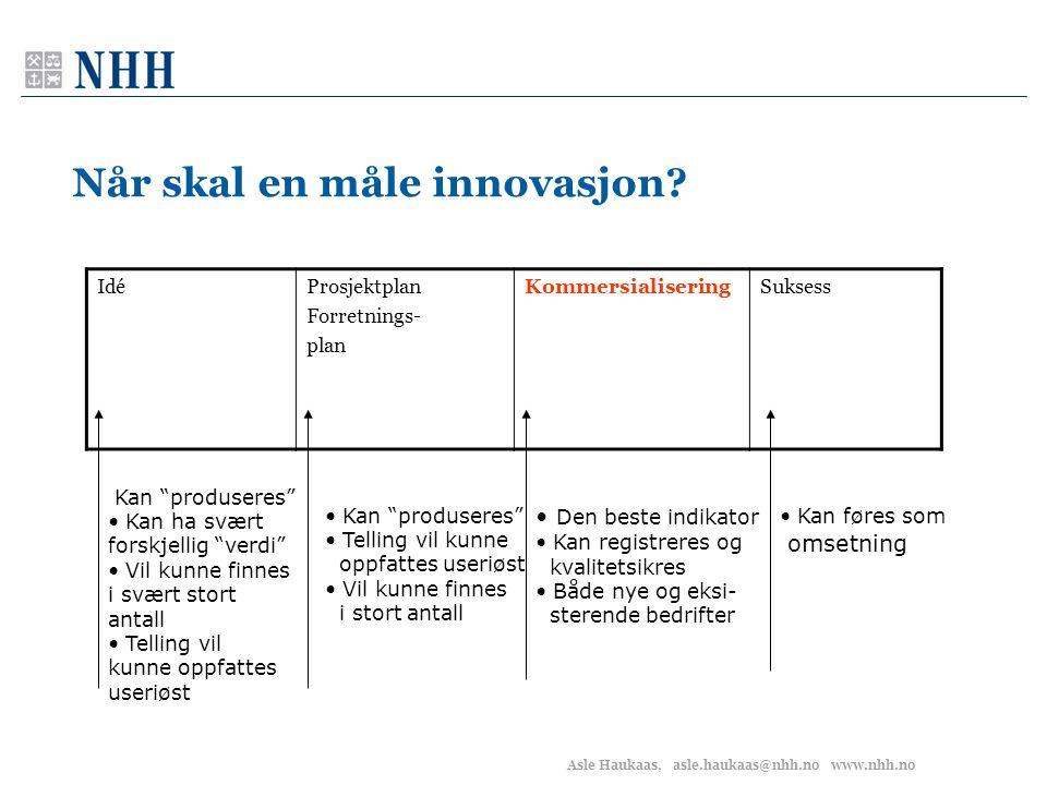 Asle Haukaas, asle.haukaas@nhh.no www.nhh.no Når skal en måle innovasjon.