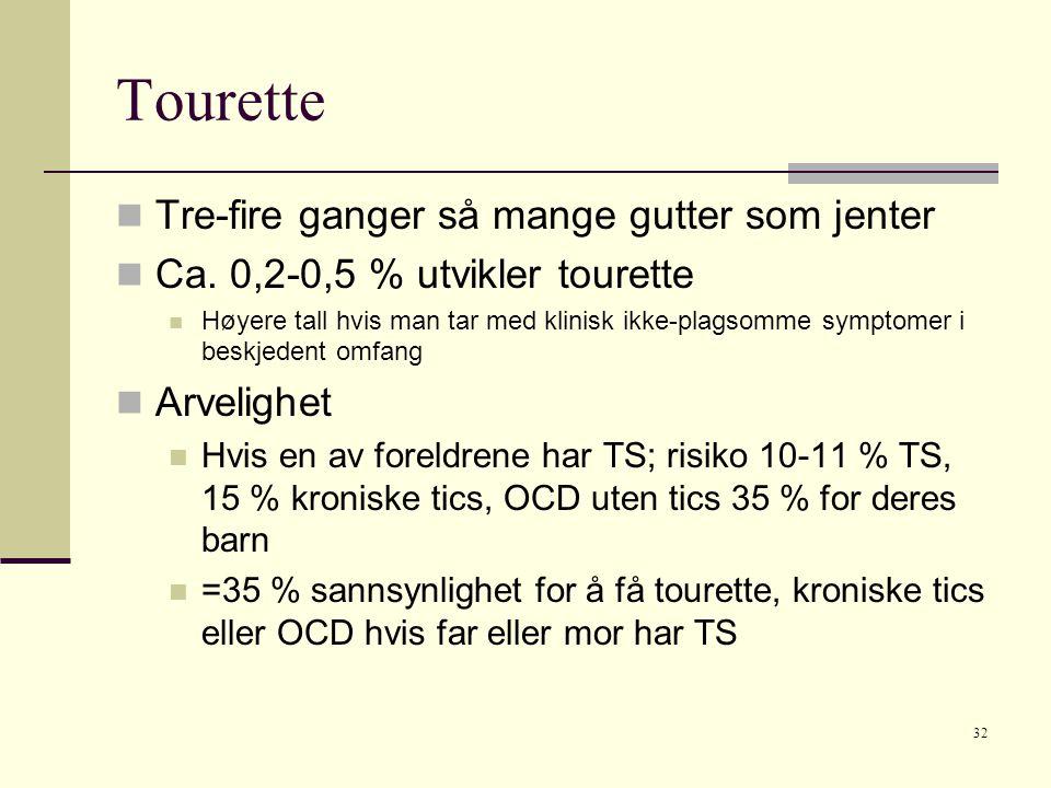 32 Tourette  Tre-fire ganger så mange gutter som jenter  Ca.