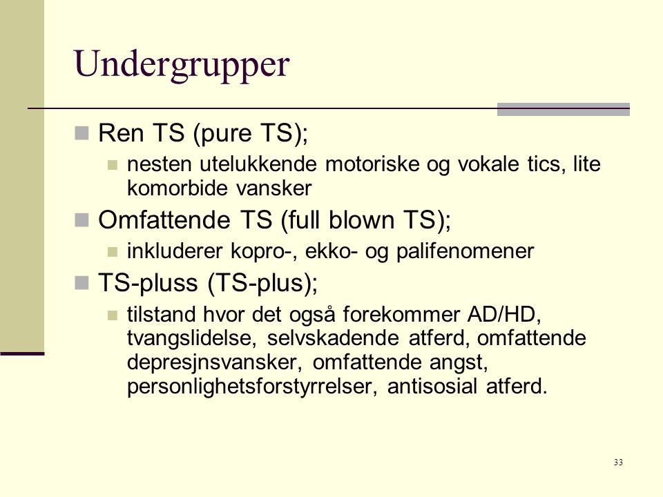 33 Undergrupper  Ren TS (pure TS);  nesten utelukkende motoriske og vokale tics, lite komorbide vansker  Omfattende TS (full blown TS);  inkluderer kopro-, ekko- og palifenomener  TS-pluss (TS-plus);  tilstand hvor det også forekommer AD/HD, tvangslidelse, selvskadende atferd, omfattende depresjnsvansker, omfattende angst, personlighetsforstyrrelser, antisosial atferd.