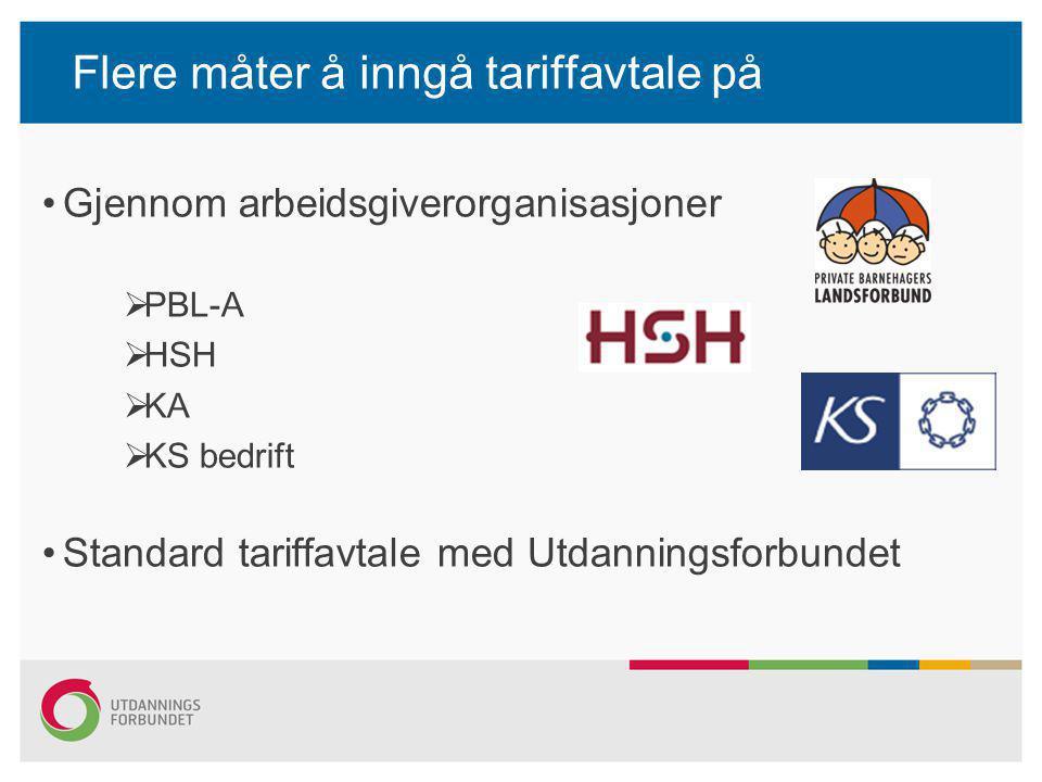 Flere måter å inngå tariffavtale på •Gjennom arbeidsgiverorganisasjoner  PBL-A  HSH  KA  KS bedrift •Standard tariffavtale med Utdanningsforbundet