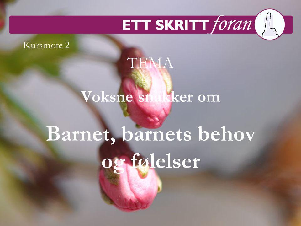 Steget före 1 © Irène Johansson/Hatten Förlag 1 TEMA Voksne snakker om Barnet, barnets behov og følelser Kursmøte 2