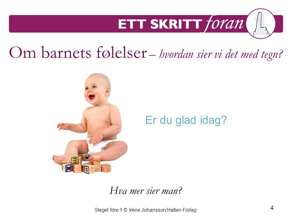 Steget före 1 © Irène Johansson/Hatten Förlag 4 Om barnets følelser – hvordan sier vi det med tegn? Er du glad idag? Hva mer sier man?