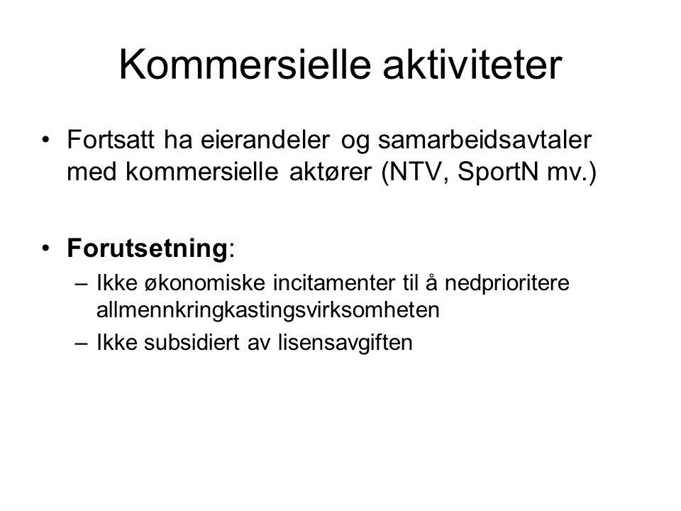 Kommersielle aktiviteter •Fortsatt ha eierandeler og samarbeidsavtaler med kommersielle aktører (NTV, SportN mv.) •Forutsetning: –Ikke økonomiske inci