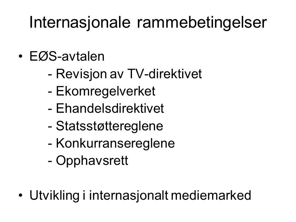Internasjonale rammebetingelser •EØS-avtalen - Revisjon av TV-direktivet - Ekomregelverket - Ehandelsdirektivet - Statsstøttereglene - Konkurranseregl
