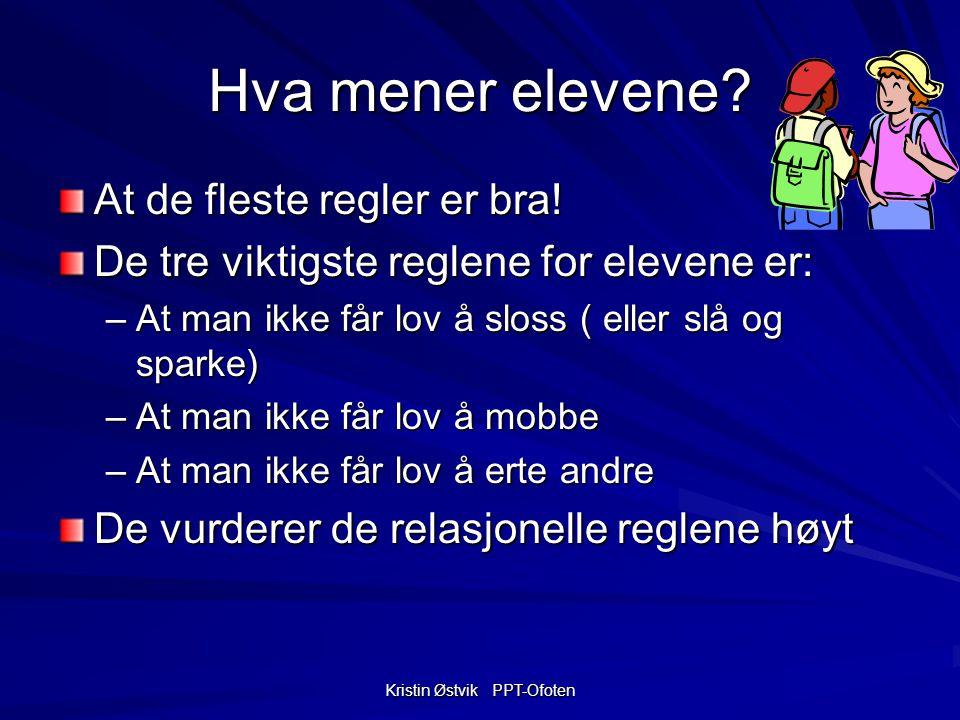 Kristin Østvik PPT-Ofoten Hva mener elevene.At de fleste regler er bra.