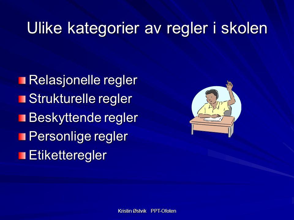 Kristin Østvik PPT-Ofoten Ulike kategorier av regler i skolen Relasjonelle regler Strukturelle regler Beskyttende regler Personlige regler Etiketteregler