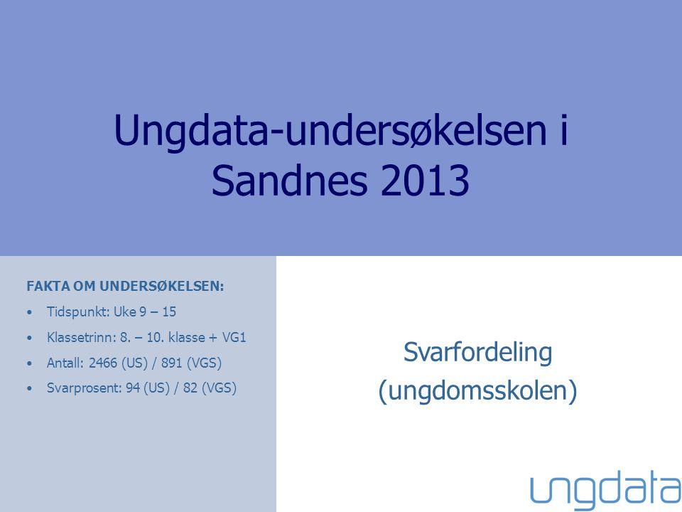 Ungdata-undersøkelsen i Sandnes 2013 Svarfordeling (ungdomsskolen) FAKTA OM UNDERSØKELSEN: •Tidspunkt: Uke 9 – 15 •Klassetrinn: 8.