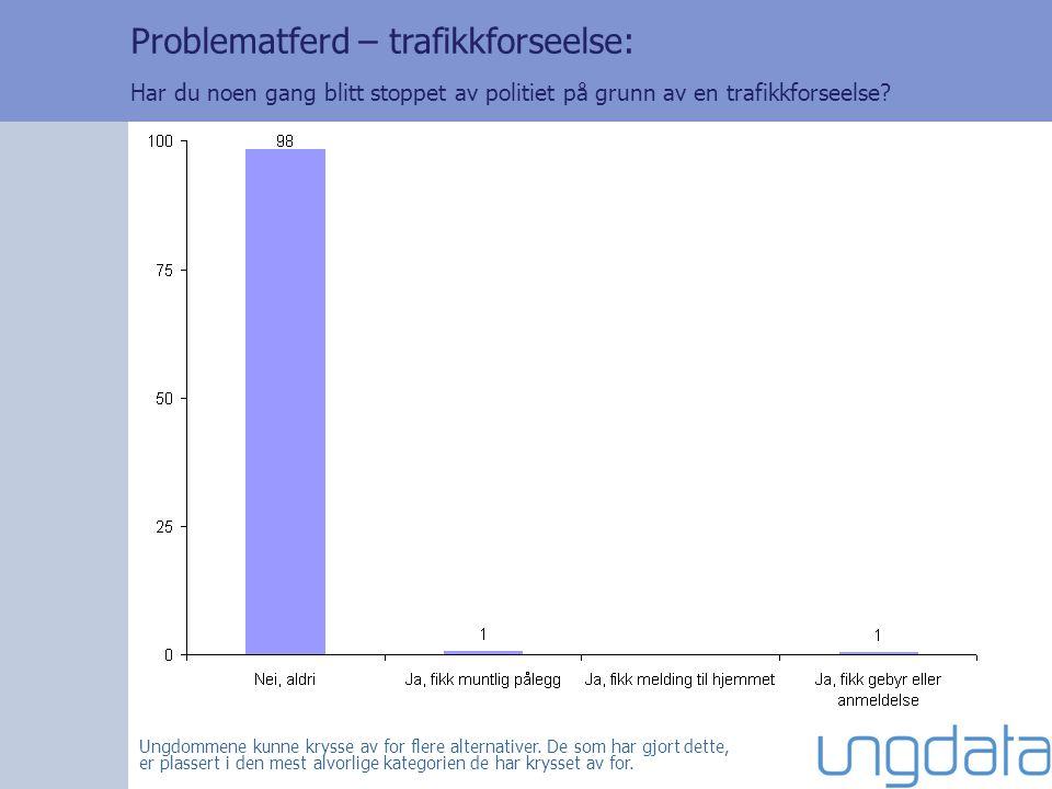 Problematferd – trafikkforseelse: Har du noen gang blitt stoppet av politiet på grunn av en trafikkforseelse.