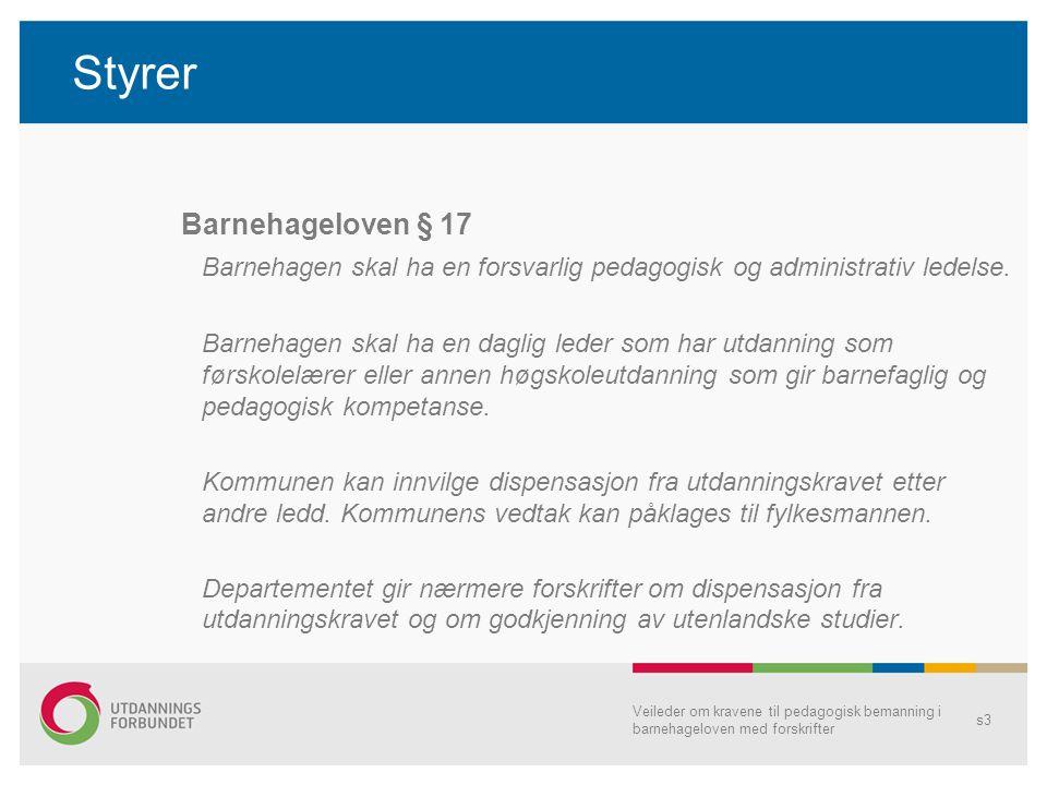 Styrer •Utdanningskrav, se § 18 annen utdanning på høgskolenivå med videreutdanning i barnehagepedagogikk •Oppgaver omtales i lovens forarbeider, jf.