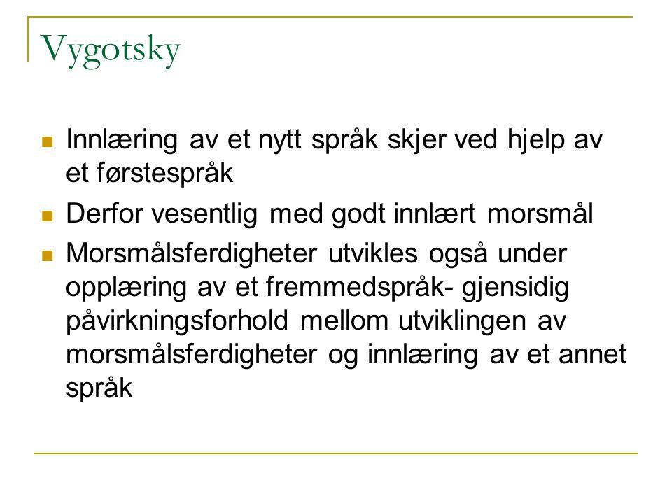 Vygotsky  Innlæring av et nytt språk skjer ved hjelp av et førstespråk  Derfor vesentlig med godt innlært morsmål  Morsmålsferdigheter utvikles ogs