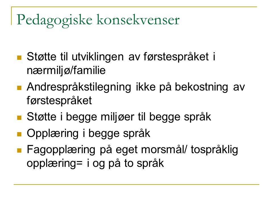 Pedagogiske konsekvenser  Støtte til utviklingen av førstespråket i nærmiljø/familie  Andrespråkstilegning ikke på bekostning av førstespråket  Stø