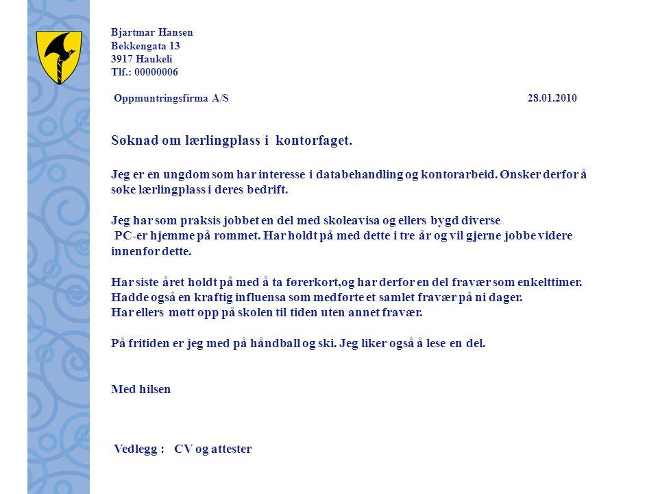 Bjartmar Hansen Bekkengata 13 3917 Haukeli Tlf.: 00000006 Oppmuntringsfirma A/S 28.01.2010 Søknad om lærlingplass i kontorfaget. Jeg er en ungdom som