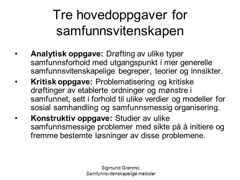 Sigmund Grønmo: Samfunnsvitenskapelige metoder Tre hovedoppgaver for samfunnsvitenskapen •Analytisk oppgave: Drøfting av ulike typer samfunnsforhold m