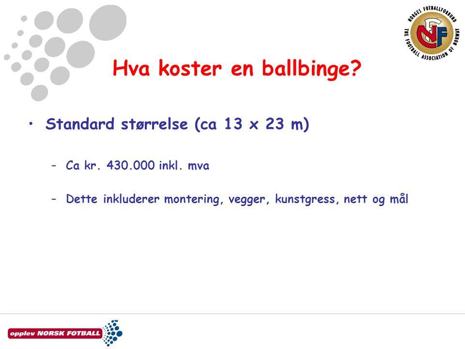 Hva koster en ballbinge? •Standard størrelse (ca 13 x 23 m) –Ca kr. 430.000 inkl. mva –Dette inkluderer montering, vegger, kunstgress, nett og mål