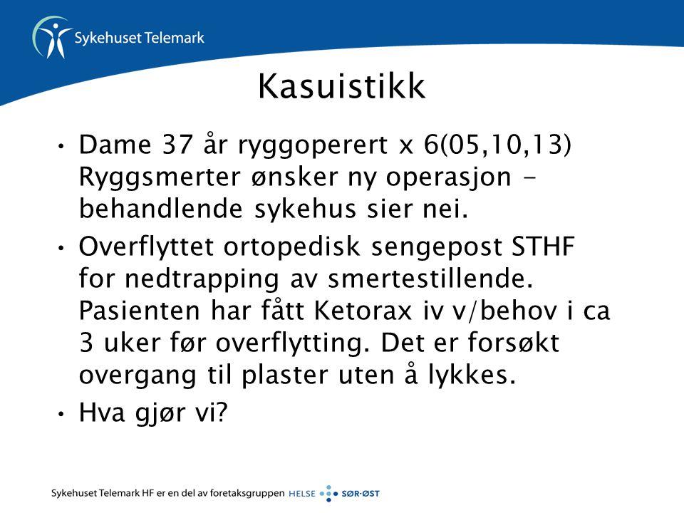 Kasuistikk •Dame 37 år ryggoperert x 6(05,10,13) Ryggsmerter ønsker ny operasjon - behandlende sykehus sier nei. •Overflyttet ortopedisk sengepost STH