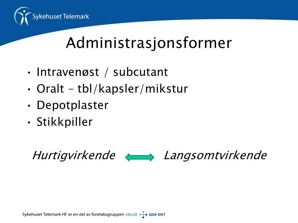 Administrasjonsformer •Intravenøst / subcutant •Oralt – tbl/kapsler/mikstur •Depotplaster •Stikkpiller Hurtigvirkende Langsomtvirkende