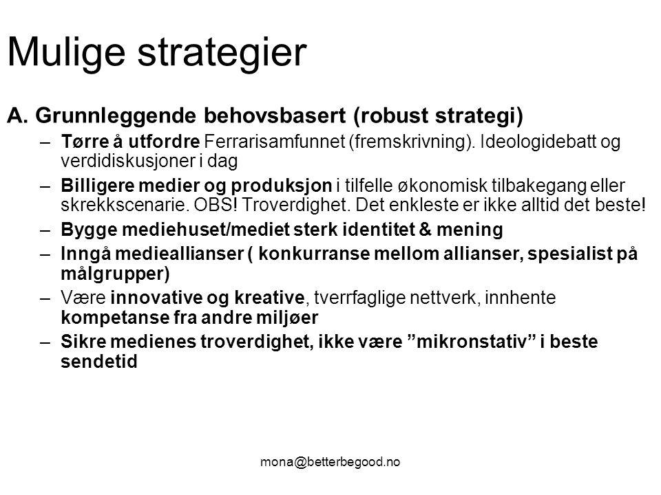 mona@betterbegood.no Mulige strategier A. Grunnleggende behovsbasert (robust strategi) –Tørre å utfordre Ferrarisamfunnet (fremskrivning). Ideologideb