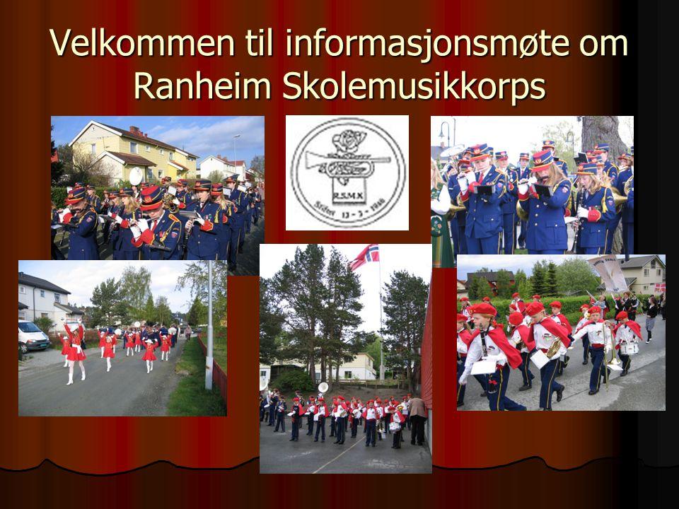 Ranheim Skolemusikkorps Skolekorpsdeltagelse gir varige verdier ved at barna lærer å spille et instrument og at de inngår i et sosialt miljø Korpset består i dag av:  Hovedkorps (26 musikanter)  Juniorkorps (5 musikanter)  Aspirantkorps (5 + ?)  Drilltropp (ca 10 + .