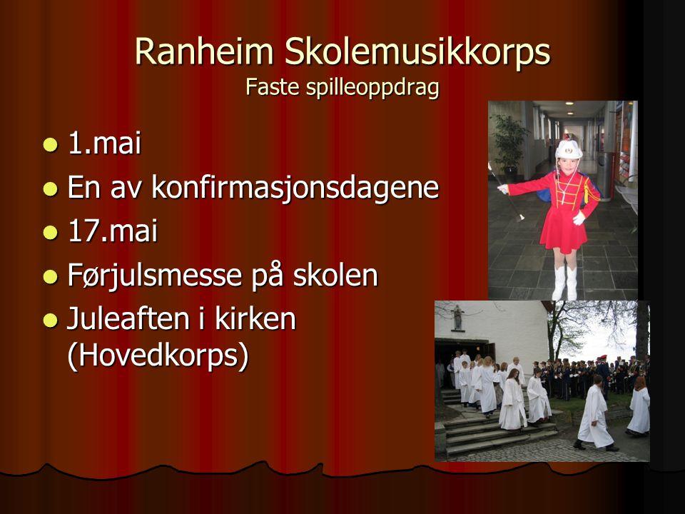 Ranheim Skolemuskkorps Andre aktiviteter  Egne konserter og prosjekter  Rennebu-spæll (Show konkurranse)  RMF's Stasjonsparkkonsert  Trøndersk mesterskap  Turer med sosialt og musikalsk innhold