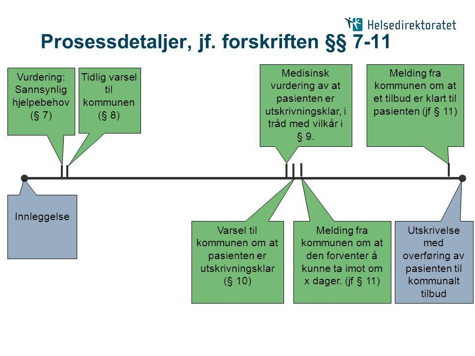 Sentrale samarbeidsaktiviteter er ikke detaljregulert i forskriften Innleggelse Tidlig varsel til kommunen (§ 8) Medisinsk vurdering av at pasienten er utskrivningsklar, i tråd med vilkår i § 9.