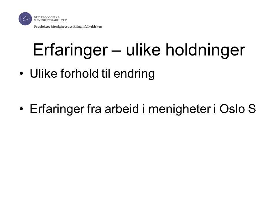 Erfaringer – ulike holdninger •Ulike forhold til endring •Erfaringer fra arbeid i menigheter i Oslo S 19.06.2014