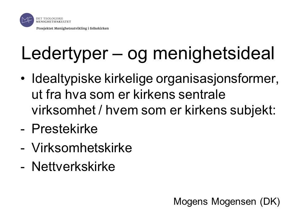 Ledertyper – og menighetsideal •Idealtypiske kirkelige organisasjonsformer, ut fra hva som er kirkens sentrale virksomhet / hvem som er kirkens subjekt: -Prestekirke -Virksomhetskirke -Nettverkskirke Mogens Mogensen (DK)