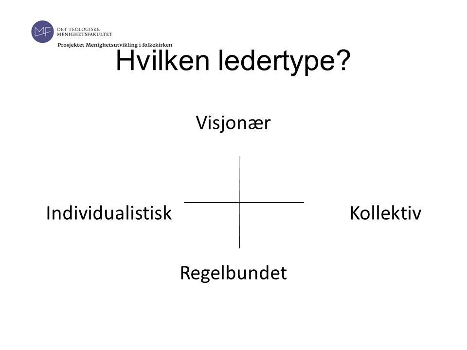 Hvilken ledertype Visjonær Individualistisk Kollektiv Regelbundet