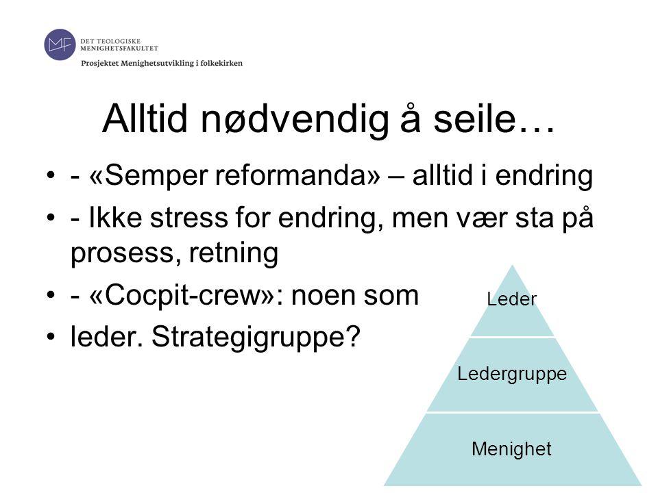 Alltid nødvendig å seile… •- «Semper reformanda» – alltid i endring •- Ikke stress for endring, men vær sta på prosess, retning •- «Cocpit-crew»: noen som •leder.