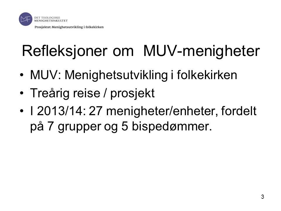 Refleksjoner om MUV-menigheter •MUV: Menighetsutvikling i folkekirken •Treårig reise / prosjekt •I 2013/14: 27 menigheter/enheter, fordelt på 7 grupper og 5 bispedømmer.