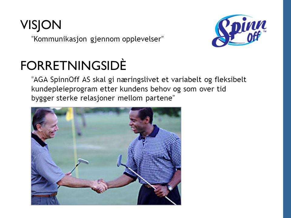 """VISJON """" Kommunikasjon gjennom opplevelser """" FORRETNINGSIDÈ """" AGA SpinnOff AS skal gi næringslivet et variabelt og fleksibelt kundepleieprogram etter"""