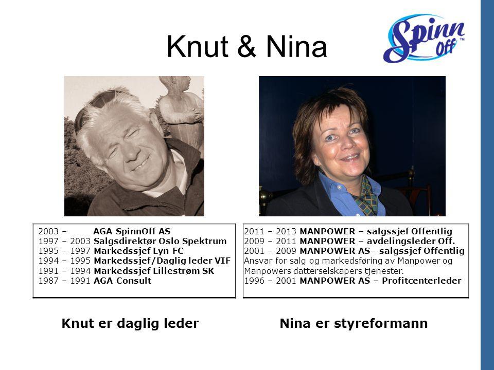 Knut & Nina 2011 – 2013 MANPOWER – salgssjef Offentlig 2009 – 2011 MANPOWER – avdelingsleder Off. 2001 – 2009 MANPOWER AS– salgssjef Offentlig Ansvar