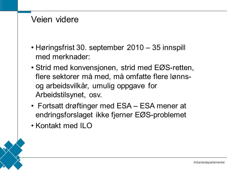 Arbeidsdepartementet  Tittelfelt   Innholdsfelt  Veien videre •Høringsfrist 30. september 2010 – 35 innspill med merknader: •Strid med konvensjone