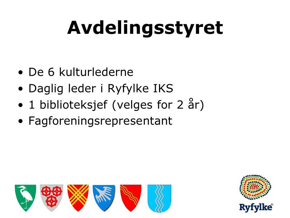 Avdelingsstyret •De 6 kulturlederne •Daglig leder i Ryfylke IKS •1 biblioteksjef (velges for 2 år) •Fagforeningsrepresentant