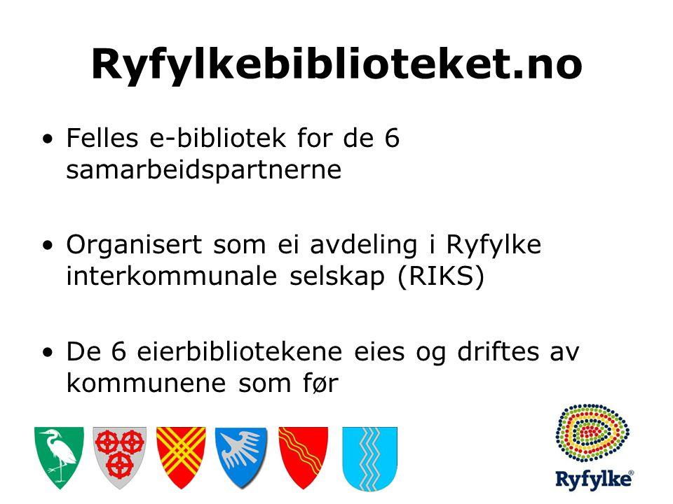 Ryfylkebiblioteket.no •Felles e-bibliotek for de 6 samarbeidspartnerne •Organisert som ei avdeling i Ryfylke interkommunale selskap (RIKS) •De 6 eierb