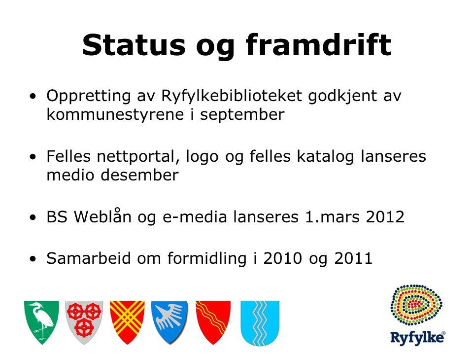 Status og framdrift •Oppretting av Ryfylkebiblioteket godkjent av kommunestyrene i september •Felles nettportal, logo og felles katalog lanseres medio